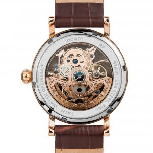 Ingersoll I00401 Mens Watch The Herald  Automatic Stainless Steel Polished Dial Skeleton Strap Strap  Color  Brown