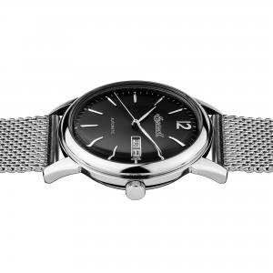 Ingersoll I00505 Mens Watch The New Haven  Automatic Stainless Steel Polished Dial Black Strap Bracelet Color  Silver