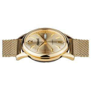 Ingersoll I00506 Herrenuhr The New Haven  Automatikwerk Edelstahl poliert Ziffernblatt gold Band Metallband gold