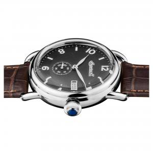 Ingersoll I00801 Mens Watch The New England Quartz Stainless Steel Polished Dial Black Strap Strap  Color  Brown