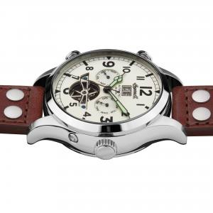 Ingersoll I02101 Mens Watch The Armstrong Automatic Stainless Steel Polished Dial White Strap Strap  Color  Brown
