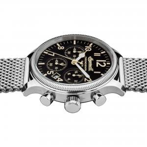 Ingersoll I02901 Mens Watch The Apsley Chronograph Quartz Stainless Steel Polished Dial Black Strap Mesh Color  Silver
