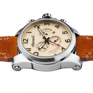 Ingersoll I03001 Mens Watch The Manning Chronograph Quartz Stainless Steel Polished Dial Cream Strap Strap  Color  Brown