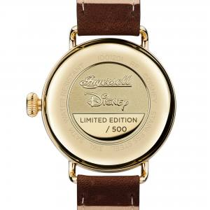 Disney Ingersoll ID01201 Mens Watch The Trenton Union Quartz Stainless Steel Polished Dial Cream Strap Strap  Color  Brown